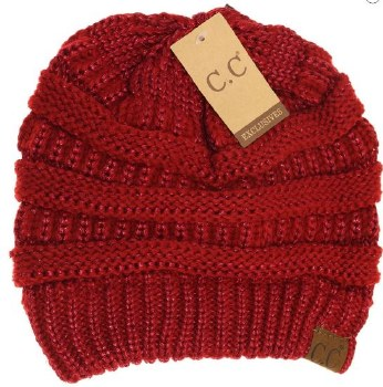 CC Knit Beanie- Red Metallic