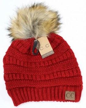 CC Knit Beanie w/ Fur Pom- Red