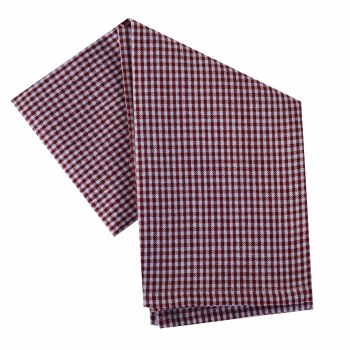 "Mini Check 20""x28"" Tea Towel- White & Red"