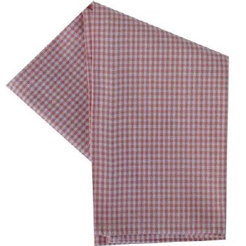 "Mini Check 20""x28"" Tea Towel- White & Rose"