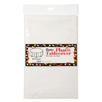 "84"" Round Plastic Tablecloth - White"