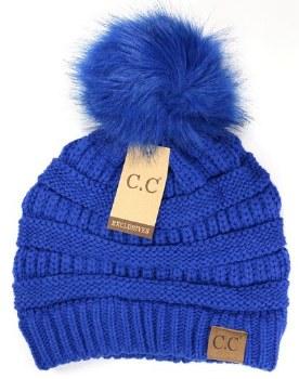 CC Knit Beanie w/ Pom- Royal