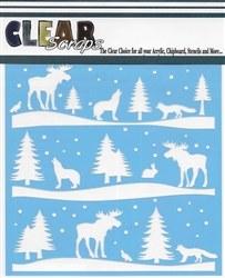 Clear Scraps 12x12 Stencil- Rustic Forest