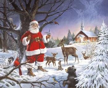 Christmas Winter Fabric Panel - Santa at the Chapel