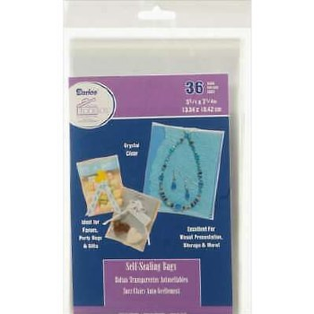 "Self Sealing Plastic Bags, 36ct- 5.25"" x 7.25"""