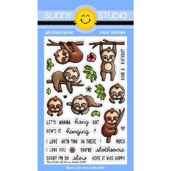 Sunny Studio Silly Sloths Clear Stamps