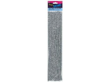 "Darice Chenille Tinsel Stems 6mm, 12""- Silver"