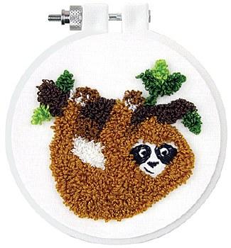"Punch Needle Kit w/ Hoop, 3.5""- Sloth"