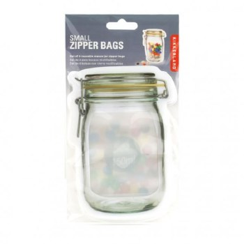 Kikkerland Zipper Mason Jar Bags, 3pc- Small