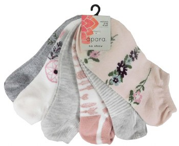 6pk No-Show Socks- Feathered Grey