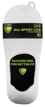 6pk Footie No-Show Socks- All Sport, White