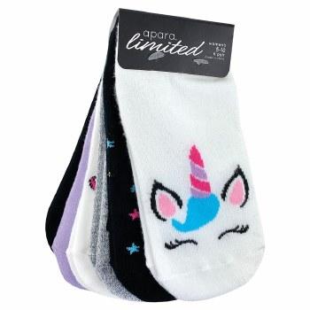 6pk No-Show Socks- Unicorns