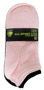 6pk No-Show Socks- All Sport, Solid Black, Pink, & Purple