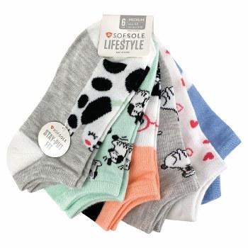 6pk No-Show Socks- Puppy Love