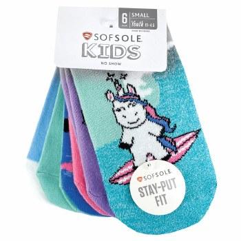 6pk No-Show Kids Socks- Unicorn