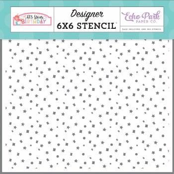 It's Your Birthday Girl Stencil- Sparkle Confetti