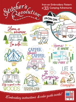 Stitcher's Revolution Embroidery Transfer Pattern - Camping Adventures
