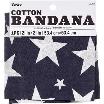 """Cotton Bandana 21""""x21""""- Stars"""