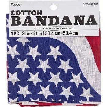 "Cotton Bandana 21""x21""- Stars & Stripes"