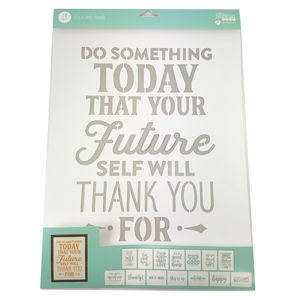 """Mix the Media Stencil Pack, 14ct- 12""""x16"""" Phrases"""