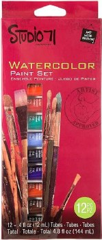 Studio 71 Paint Sets- Watercolor Set, 12pc