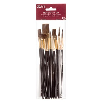 Studio 71 Brush Set- Natural Bristle Brushes, 10pc