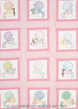"""9"""" Quilt Blocks- Sunbonnet Babies"""