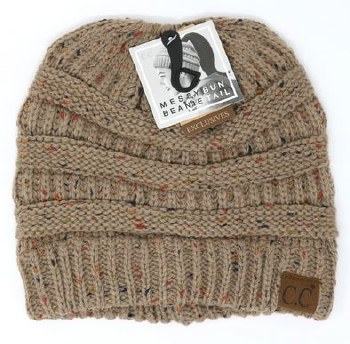 CC Knit Beanie Tail- Taupe Confetti