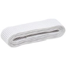 "Elastic, 1"" Non-Roll Ribbed- White"