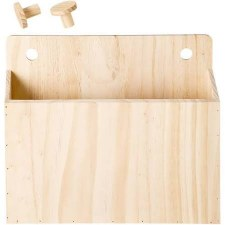 """Wooden Pegboard Container, 10.25x12"""""""