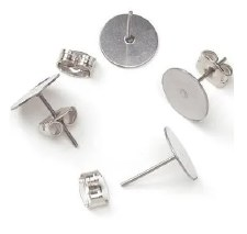 Flat Pad Earring Posts & Butterfly Clutches, 10mm- 12ct