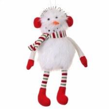 "Wooly Plush Sitting Snowman- 12"""