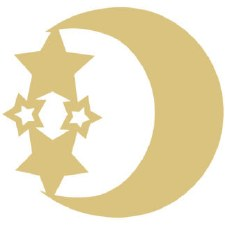 "Moon & Stars MDF Cut Out- 12"""