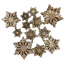 Wood Snowflakes Fillers/Embellishments, 12ct