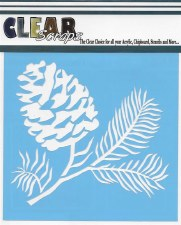 Clear Scraps 12x12 Stencil- Pinecone