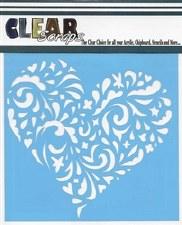 Clear Scraps 12x12 Stencil- Swirl Heart