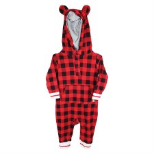 Hot Cocoa Buffalo Check Hooded Jumpsuit- 12M