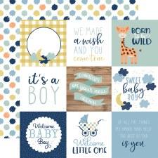 Baby Boy 12x12 Paper- 4x4 Cards