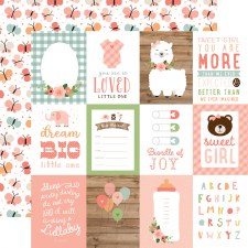 Baby Girl 12x12 Paper- 3x4 Cards