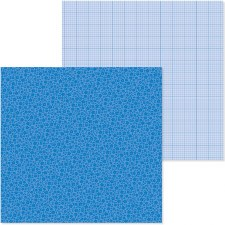 Petite Print Floral & Graph 12x12 Paper-  Blue Jean