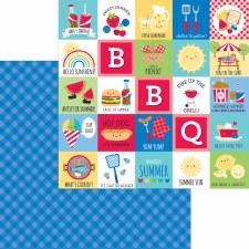 Bar-B-Cute 12x12 Paper - Blueberry Plaid
