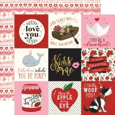 Be My Valentine 12x12 Paper- 4x4 Cards