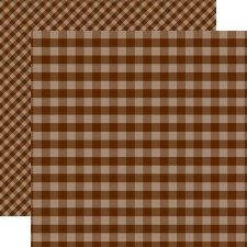 Autumn Gingham 12x12 Paper- Brown