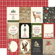 Christmas 12x12 Paper- 3x4 Journaling Cards