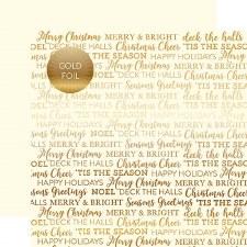 Carta Bella 12x12 Foiled Holiday Sentiments Paper- Cream