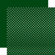 Foil Polka Dot 12x12 Paper- Dark Green with Silver Dots