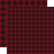 Buffalo Plaid 12x12 Paper- Dark Red