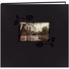 Pioneer 12x12 Post Bound Album- Leatherette, Black Ivy