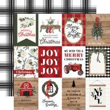 Farmhouse Christmas 12x12 Paper- 3x4 Cards
