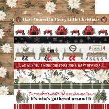 Farmhouse Christmas 12x12 Paper- Christmas Border Strips
